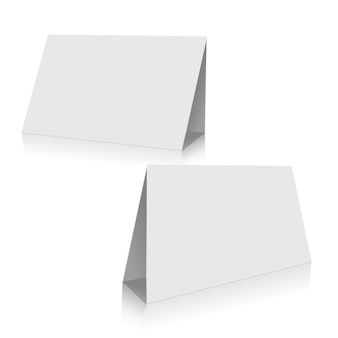 White paper stand table set