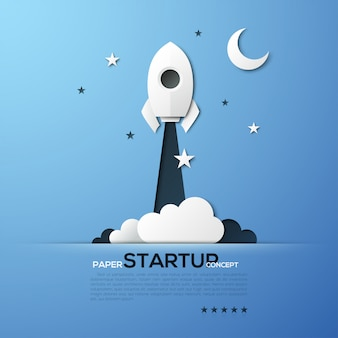 White paper startup rocket concept vector illustration