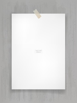 White paper stick on gray concrete background with soft shadow. vector illustration.