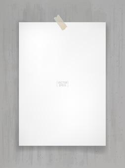 부드러운 그림자와 함께 회색 콘크리트 배경에 흰색 종이 스틱. 벡터 일러스트 레이 션.