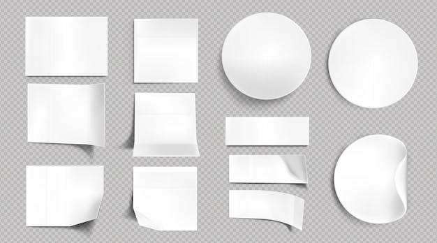Белые бумажные наклейки, пустые квадратные, круглые и прямоугольные липкие заметки. реалистичный набор векторных пустых этикеток с загнутыми и загнутыми углами, липкие бирки, изолированные на прозрачном фоне