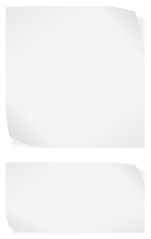 White paper stickers isolated on white background