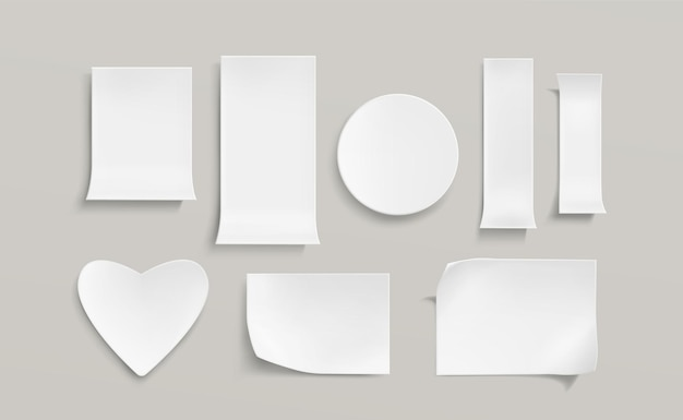White paper stickers set