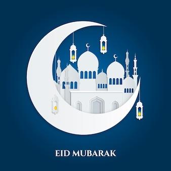 ホワイトペーパースタイルのモスクと月