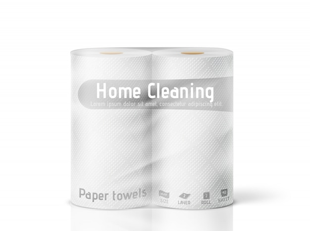White paper towels in a package on a white background.  illustration