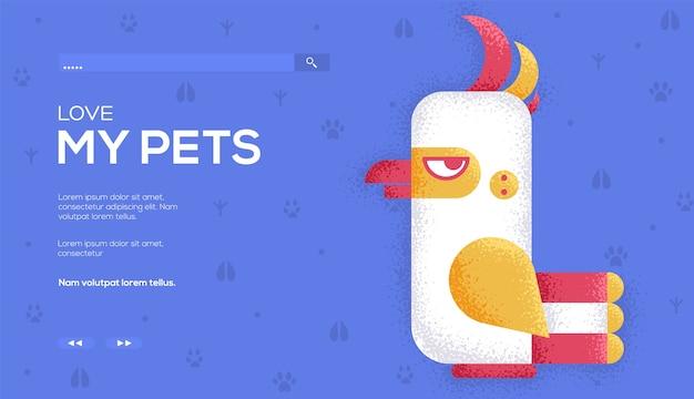 Флаер концепции белого попугая, веб-баннер, заголовок пользовательского интерфейса, введите сайт. .