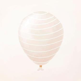 Vettore di elemento palloncino festa bianca con linee bianche