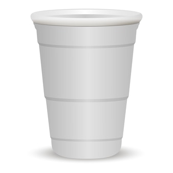 White party cup realistic 3d vector illustration