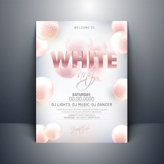 White party invitation card design with 3d abstract spheres on g