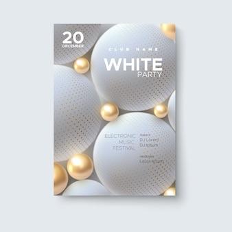 Макет плаката белой вечеринки
