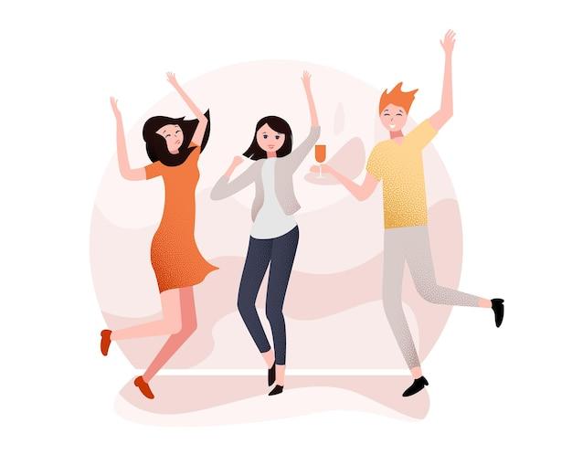 행복한 춤을 추는 사람들이 있는 흰색 파티 포스터 엔터테인먼트 또는 디스코 배경