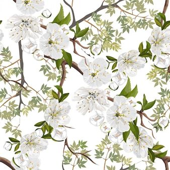 White peach blossoms flower seamless pattern