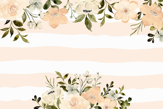 White peach floral background with watercolor