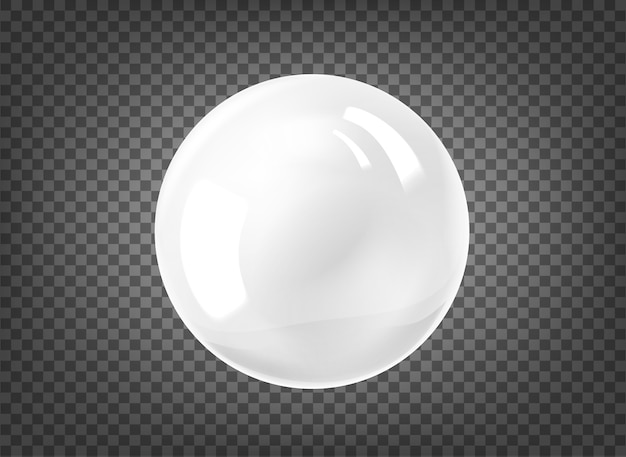 White pearl on black background
