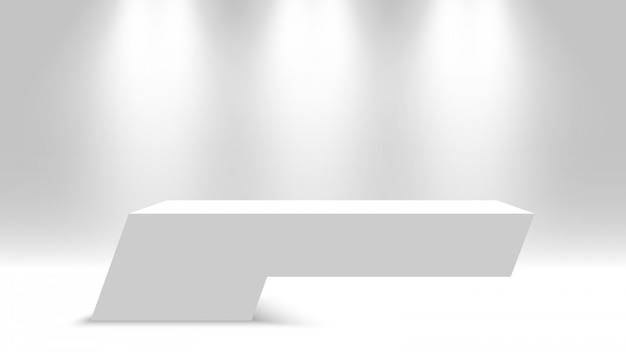 白い台座。スポットライトで空白の表彰台。図。
