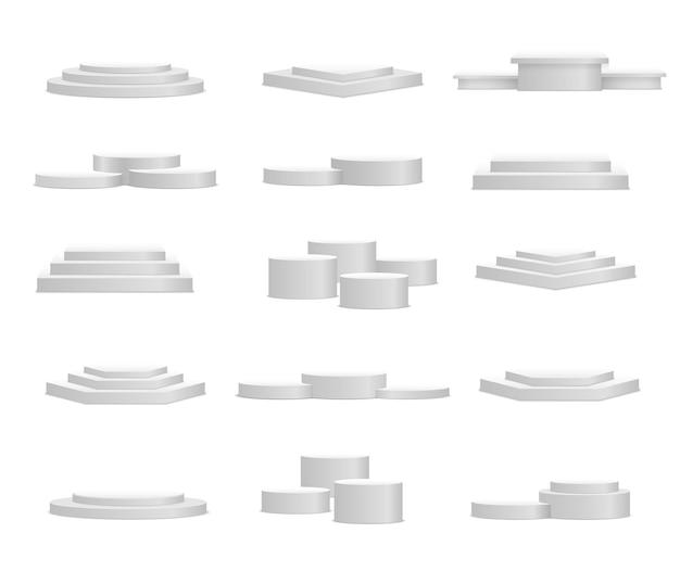 흰색 받침대 플랫폼 스탠드 실린더 원형 및 사각형 빈 무대 및 연단 계단 d