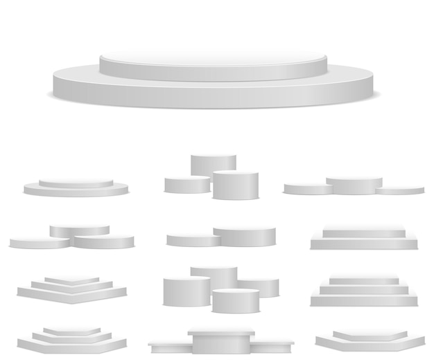 白い台座のプラットフォームスタンドシリンダー円形および正方形の空のステージと表彰台の階段d