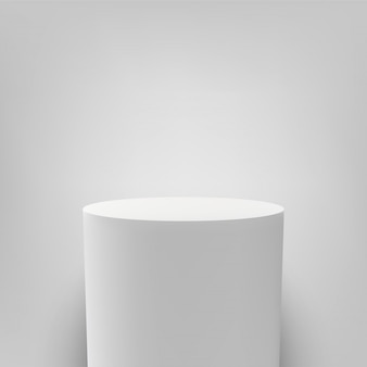Белый постамент круглый белый 3d колонна подиум