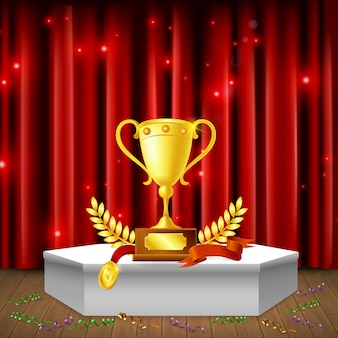 White pedestal with awards  streamers on floor realistic composition on background of red sparkling curtain