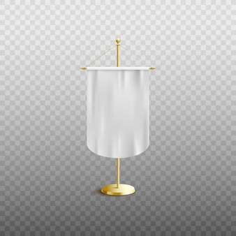 白いペナントフラグまたは透明な背景のホルダーのリアルなイラストの上に立って空の垂直生地バナー。広告看板テンプレート。
