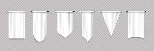 White pennant flags with different shapes