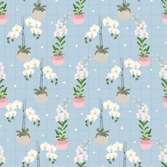 White phalaenopsis and dendrobium orchid on blue plaid seamless pattern for wrapping paper