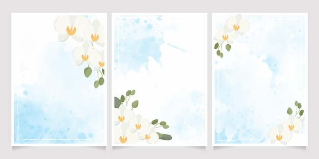 White phalaenopsis orchid on blue watercolor splash wedding invitation background collection