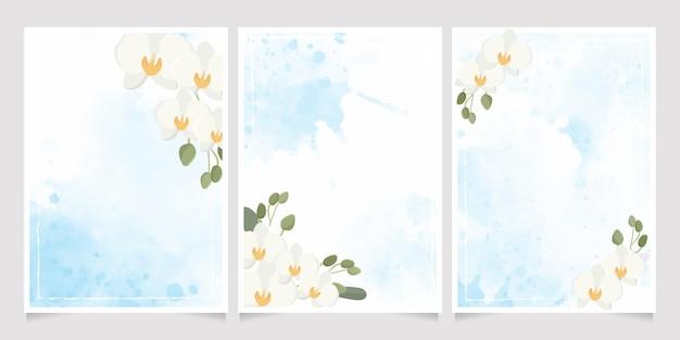 青い水彩スプラッシュ結婚式の招待状の背景コレクションに白い胡蝶蘭