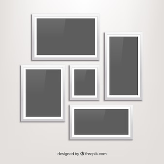 White photo frame collage with flat design