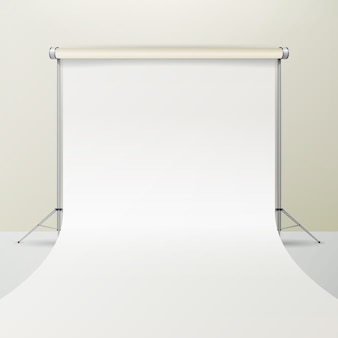 White photo studio vector. realistic photographer studio interior illustration