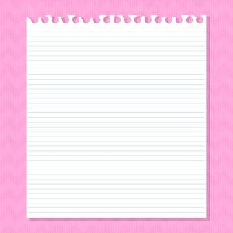 ピンクに線が入った白い紙。ベクトルイラスト