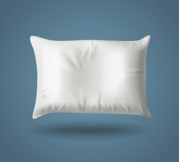 White pillow on blue background with real shadow