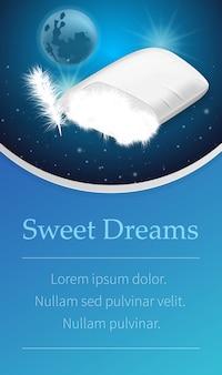 内側にダウンフィリングの白い枕。いい夢を