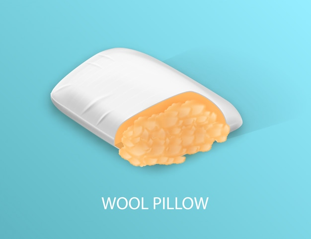 White pillow with woolen filling.