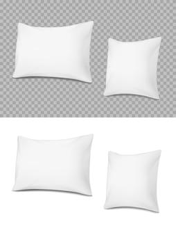 흰색 베개, 현실적인 쿠션 3d 직사각형 또는 정사각형 모양 각도보기. 프리미엄 벡터