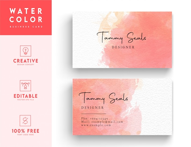 White and pink artistic horizontal watercolor business card