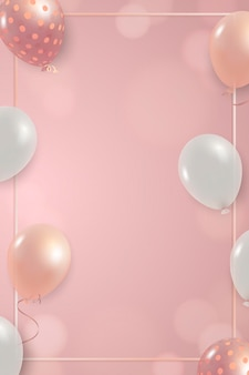 White and pink balloons frame design