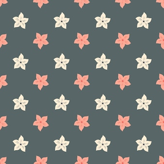 White and pink colored tropic flowers seamless pattern