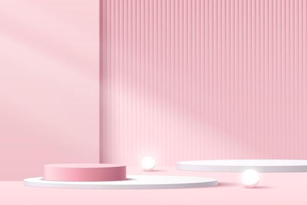 影付きの白、ピンクのシリンダー台座表彰台。幾何学的なプラットフォーム。抽象的なピンクの最小限の壁のシーン。輝くネオン球球。製品ディスプレイプレゼンテーション用のベクトルレンダリング3d幾何学的形状。