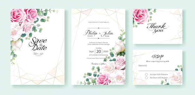 White and pink rose flower wedding invitation card