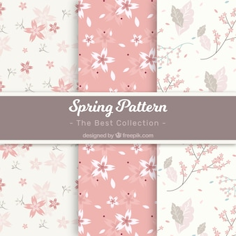 White and pink spring pattern collection