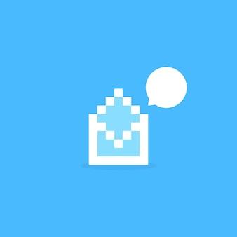 通知のような白いピクセルアートの手紙。通信の概念、モザイク、8ビットの視覚的アイデンティティ、smsスパム、レポート送信。青の背景にフラットピクセルアートスタイルのトレンドモダンなロゴタイプのグラフィックデザイン