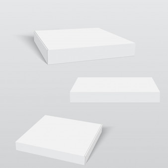 White pizza box packaging template.