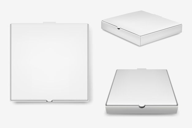 White pizza boxes set.