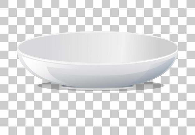 透明な背景に白い無地のプレート