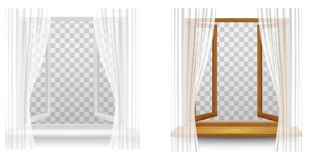 透明な背景にカーテンが付いている白いプラスチックと木製の窓枠。ベクター