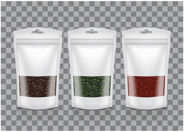 White plastic bag with window. black, green, red tea. packaging template mockup collection