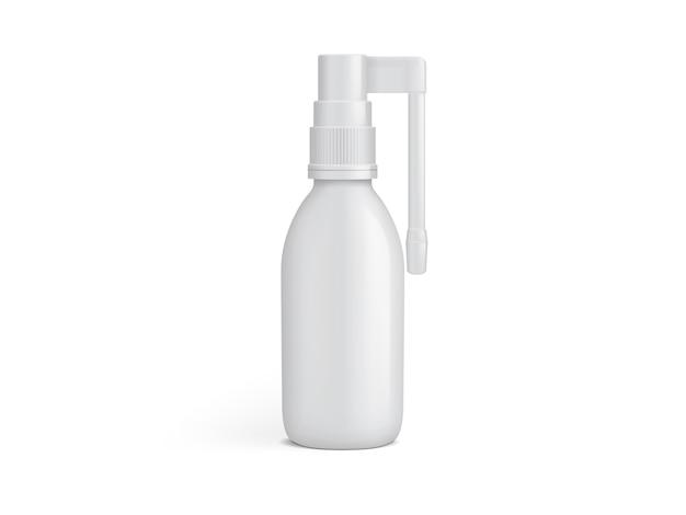 Белая пластиковая бутылка для спрея для полости рта на белом фоне шаблона