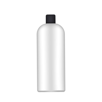 黒い帽子が付いている白いプラスチック瓶。リアルなボトル。シャンプーやシャワージェルに最適です。孤立。ベクター。