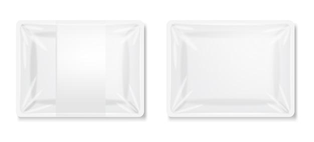 Изолированный белый пластиковый контейнер, реалистичная белая упаковка, контейнер для мяса и колбасы